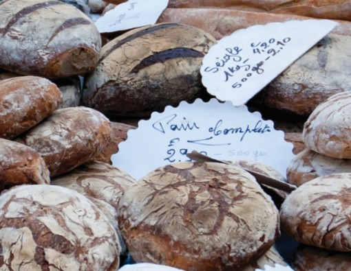 Bread Artisan style at market in France