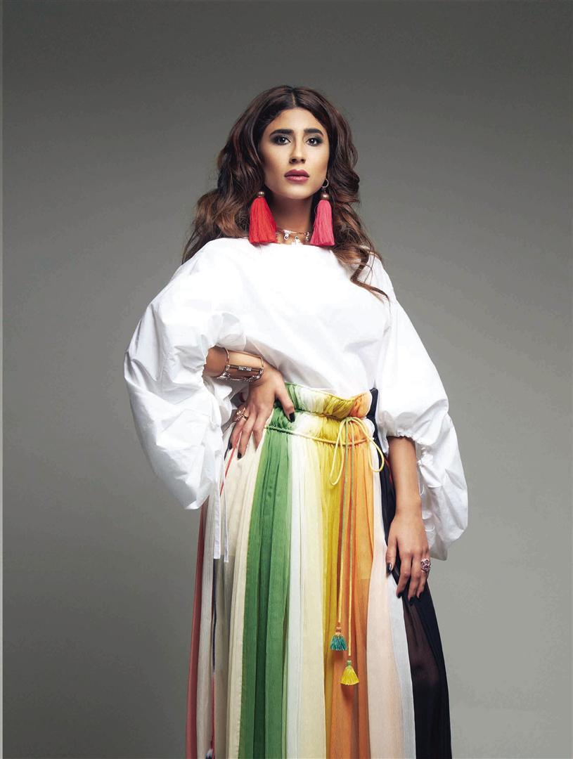 Earrings: Lanvin – Thuraya Mall Necklace & Cuff: CA & Lou – Al Ostoura Thuraya Mall Top: Delpozo – Al Ostoura Thuraya Mall Pants: Chloé – Thuraya Mall