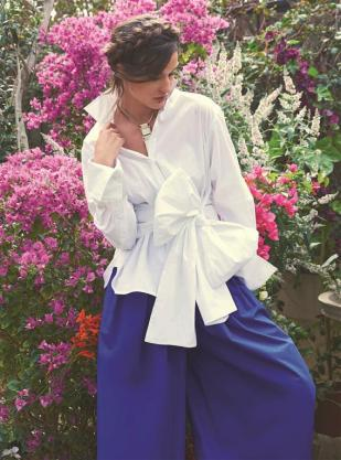 SHIRT: CO/MUN - All Al Ostoura Stores NECKLACE: Lanvin - Thuraya Mall CULOTTES: Delpozo Al Ostoura Thuraya Mall