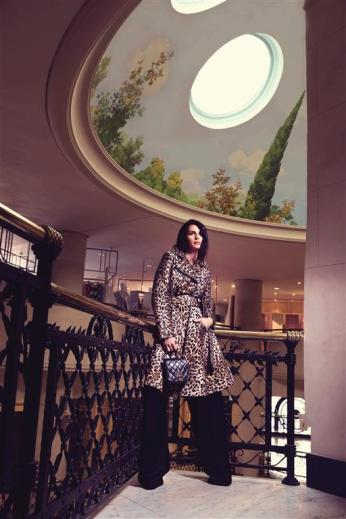 COAT: Sara Battaglia - Al Ostoura Roof Thuraya Mall, Al Ostoura The Avenues TROUSERS: Balenciaga - Thuraya Mall BAG: Vintage Chanel - What Goes Around Comes Around