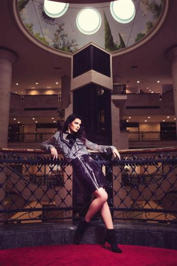 SHIRT: Preen by Thornton Bregazzi - Al Ostoura Roof Thuraya Mall SKIRT: Sara Battaglia - Al Ostoura Roof Thuraya Mall, Al Ostoura The Avenues BOOTS: Nicholas Kirkwood - Al Ostoura Roof Thuraya Mall