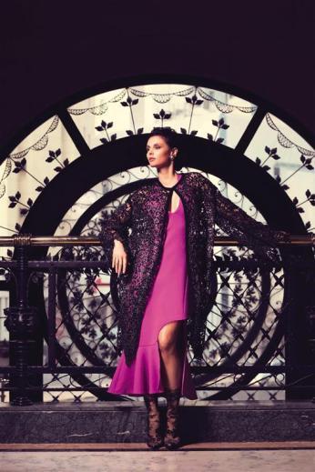 COAT: Antonio Marras - Thuraya Mall DRESS: David Koma - Al Ostoura Mezzanine Thuraya Mall SHOES: Balenciaga - Thuraya Mall EARRINGS: Vintage Chanel - What Goes Around Comes Around