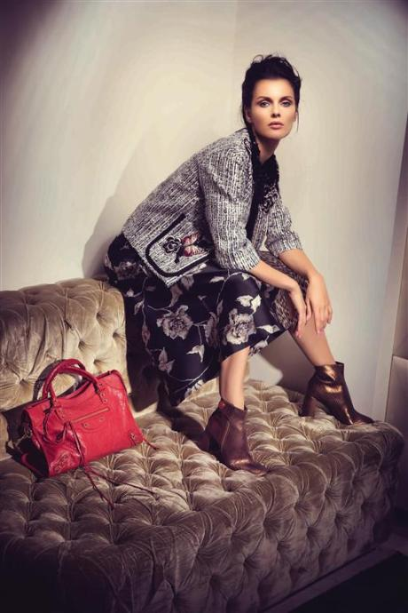 JACKET & SKIRT: Antonio Marras - Thuraya Mall BOOTS: Stella McCartney - Thuraya Mall, Al Ostoura The Avenues, Al Ostoura Salhiya Complex BAG: Balenciaga - Thuraya Mall