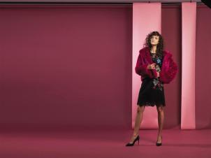 COAT: Dries Van Noten - Thuraya Mall DRESS: Ermanno Scervino - Thuraya Mall
