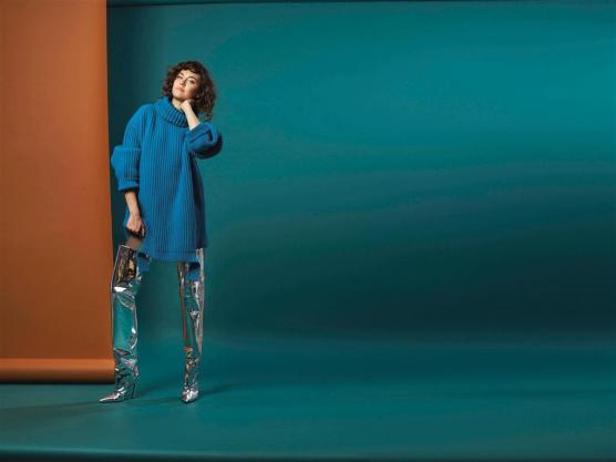 SWEATER DRESS & BOOTS: Balenciaga - Thuraya Mall