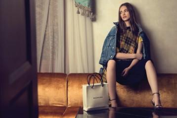 TOP AND TROUSERS: Junya Watanabe Al Ostoura Roof Thuraya Mall JACKET AND BAG: Balenciaga Thuraya Mall