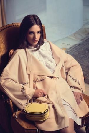 SHIRT DRESS: Chloe COAT AND BAG: Chloe Thuraya Mall